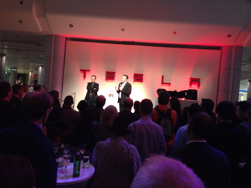 Tesla launch party Eldon Musk on stage with Q&A