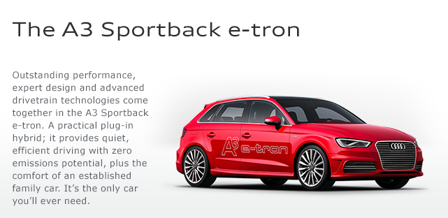 audi a3 e tron plug in to hit uk in summer 2014. Black Bedroom Furniture Sets. Home Design Ideas