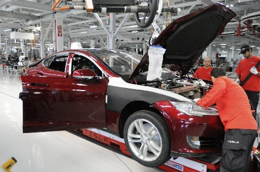 tesla in production