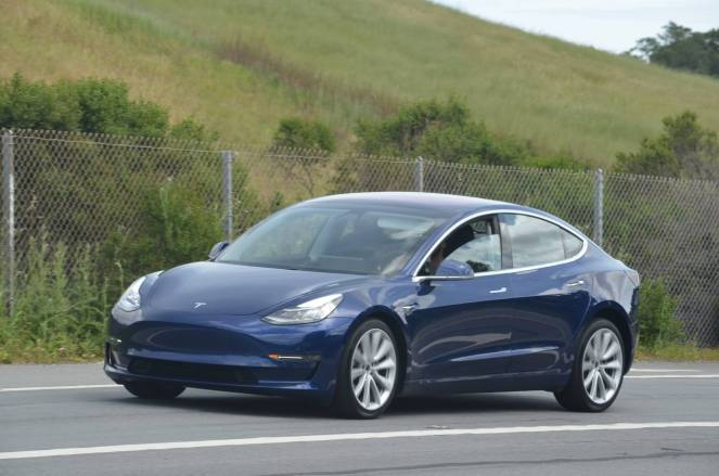 tesla model 3 test car