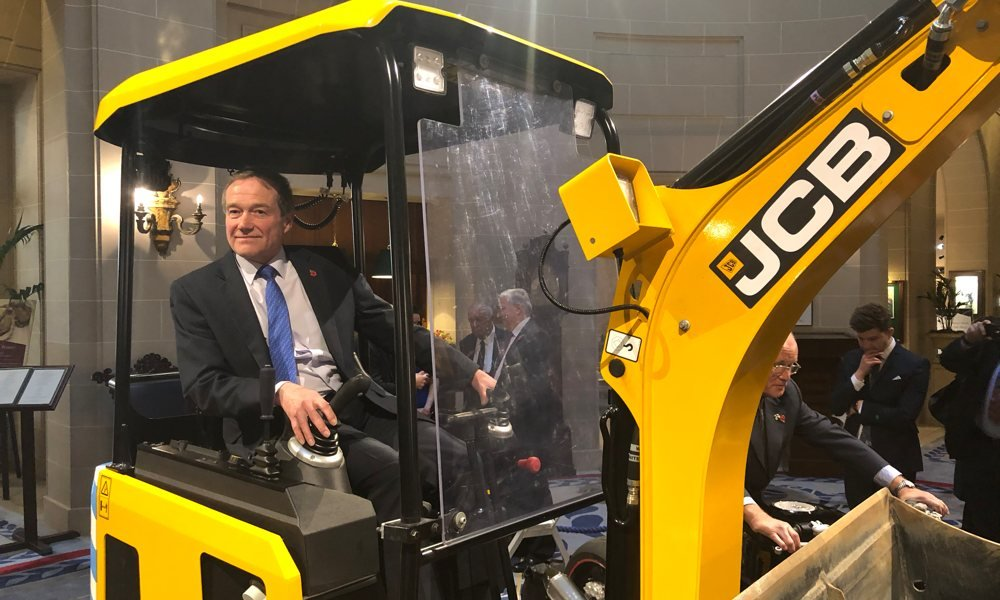 Bob Womersley, JCB's Director of Advanced Engineering in the cab.